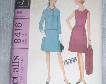 Vintage 60s McCalls designer Bill Blass dress and jacket pattern 8416 Sz 14