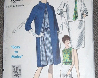 Vintage 60s Vogue Special Design Pattern 6741 Skirt Overblouse and Coat Size 12