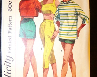Vintage 50's Simplicity Pattern 2075  for Pull-Over Shirt, Pants, Bra Pattern Size 11 Uncut FF