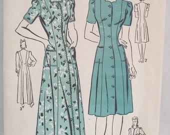 Vintage 40's Advance Pattern 2873 for classy Dress Housecoat Robe Size 20 Bust 38 Uncut FF