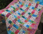 "Pink Quilt -- ""Summer Means Butterflies"" -- Baby or Toddler Patchwork Quilt"
