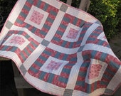 """SALE Pink Crib Quilt -- """"Be Square"""" Patchwork Baby or Toddler Quilt"""