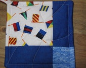 Pennant Potholders -- Blue and White Patchwork Potholders