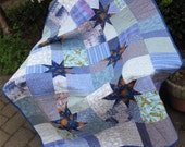 """Blue Patchwork Crib Quilt -- """"Star Power"""" -- Toddler or Baby Quilt"""