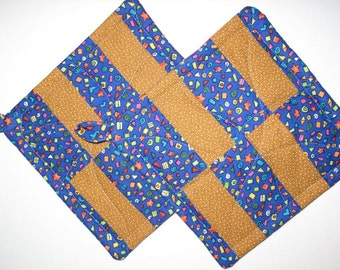"""Blue and Gold Potholders -- """"Hard Candy"""" Patchwork Potholders"""