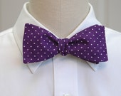 Men's Bow Tie in purple with white pin dots (self-tie)