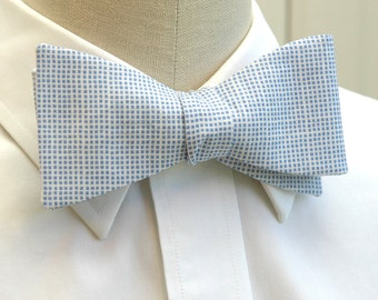 Men's Bow Tie in Carolina Blue tiny checked pattern (self-tie)