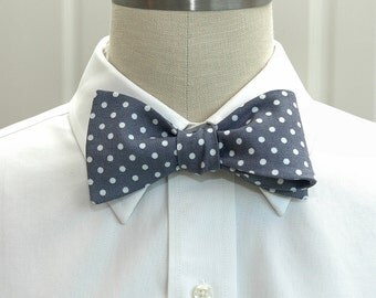 Men's Bow Tie in grey with white polka dots (self-tie)