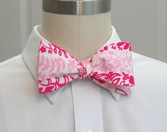 Men's Bow Tie in Lilly Boardwalk Cafe pink and white (self-tie)