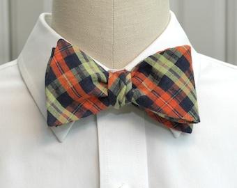 Men's bow tie in navy, lime and orange plaid (self-tie)