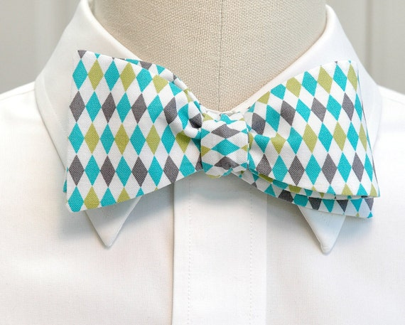 Men's Bow Tie in turquoise, lime & grey harlequin pattern