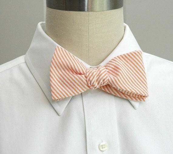 Men's Bow Tie in orange seersucker (self-tie)