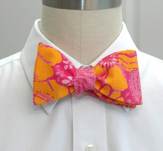 Men's Bow Tie, orange and pink Lilly fabric, Ten Ton Bouquet, wedding bow tie, Carolinas Cup bow tie, hot pink bow tie, tuxedo accessory
