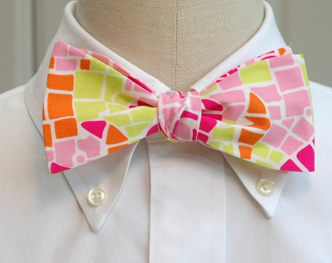 Men's Bow Tie, Sun Salute neon pink & green mosaic Lilly print bow tie, neon bright bow tie, wedding bow tie, groom bow tie, prom bow tie,