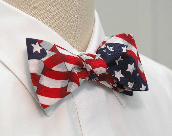 Men's Bow Tie American flag, self tie, patriotic bow tie, US flag bow tie, July 4th, Old Glory bow tie, red, white and blue, Team USA bowtie