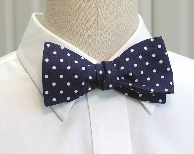 Men's Bow Tie, classic navy blue and white polka dots, Winston Churchill bow tie, wedding bow tie, groom bow tie, traditional navy bow tie