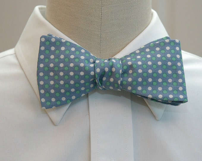 Men's Bow Tie, cadet blue with green and white polka dots, cool blue bow tie, wedding bow tie, elegant bow tie, groom bow tie, prom bow tie