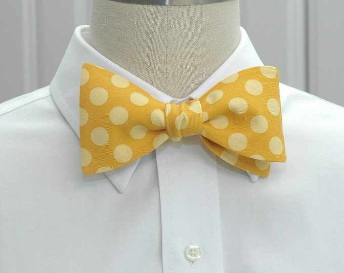 Men's Bow Tie, gold with yellow polka dots, sunshine yellow bow tie, wedding bow tie, groom bow tie, groomsmen gift, prom bow tie, self tie
