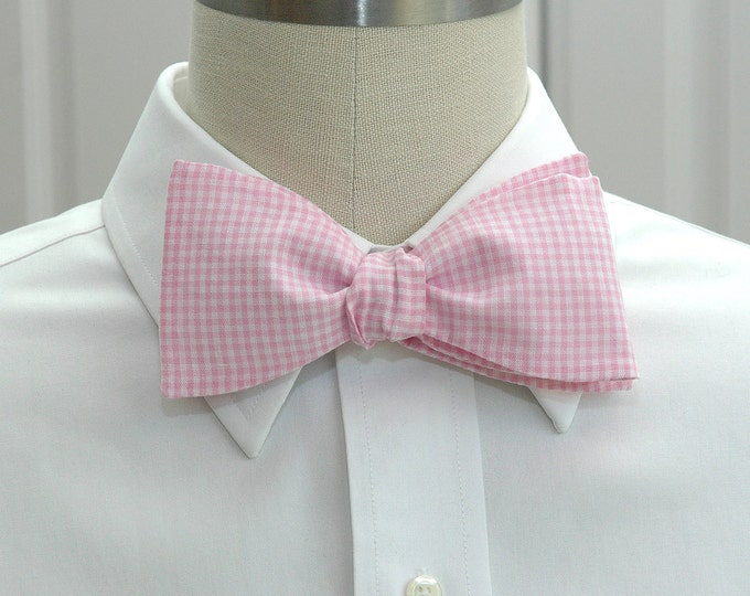 Men's Bow Tie, pink mini gingham, wedding bow tie, groom bow tie, groomsmen gift, wedding party, self tie bow tie, pink and white bow tie