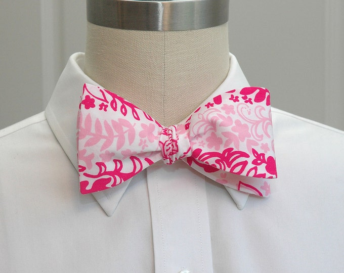 Men's Bow Tie, Boardwalk Cafe two pinks and white Lilly print, self-tie, two way color tie, wedding bow tie, groom bow tie, groomsmen gift,