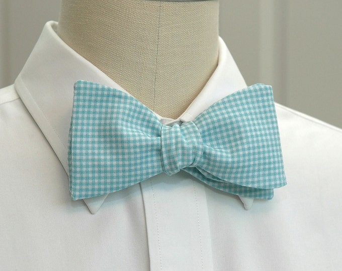 Men's Bow Tie, aqua mini gingham, wedding bow tie, groom bow tie, groomsmen gift, aqua check bow tie, summer bow tie, Fathers Day gift,