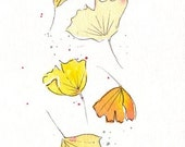 Falling Ginko - Watercolor Print