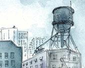 Crossing Wires - Watercolor Print