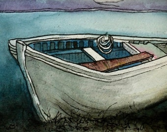 Calm Water Dinghy - Watercolor Print