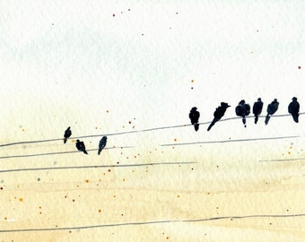 Wires in the Sky - Limited Edition Watercolor Print
