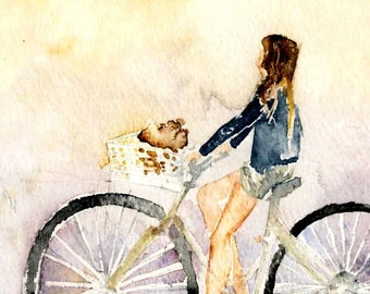 Legs on a Bike - Watercolor Print