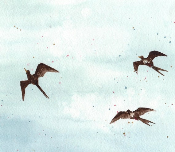 Swallows in the Sky - Watercolor Print