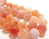 Agate, Peach, Rounds, Faceted, Gemstone Beads, 12mm, Large, 10pcs - ID 551