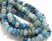 Agate, Fired, Dark Blue, Rondelle, Faceted, 10mm, Small, Gemstone Beads, Half Strand, 30-32pcs - ID 754