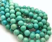 Natural Turquoise, Blue-Green with Some Matrix, Round, Smooth, 10mm, Gemstone Beads, Full Strand, 40pcs - ID 884