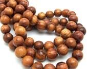 Bayong, Natural Wood Beads, Round, Smooth, 10mm,  Full strand, 43pcs - ID 1032