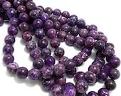 Lepidolite, Dark Purple, Round, Smooth, Gemstone Beads, 10mm, Half Strand, 20pcs - ID 764-2