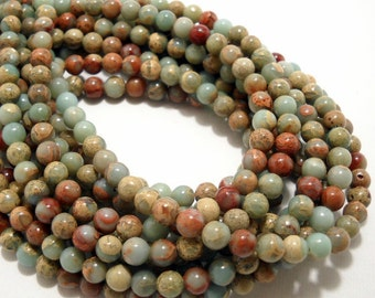 Impression Stone, 6mm, Round, Aqua Terra Jasper, Blue-Green, Smooth, Gemstone Beads, Small, Full-Strand, 70pcs  - ID 373