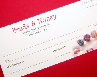 Gift Certificate (Paper or Electronic Gift Card) - Give the Gift of Beads from Beads and Honey - Free Shipping  - ID 654