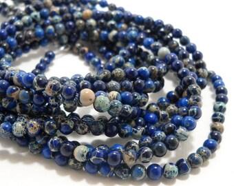 Impression Stone, Dark Blue, Round, Smooth,  Gemstone Beads, 4mm, Small, 100pcs, Full-Strand - ID 673