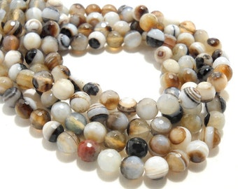 Agate, Banded, White/Brown/Black, Round, Faceted, Gemstone Beads, 8mm, Small, Full Strand, 48pcs - ID 695