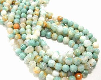 Agate, Banded, Sea Green/Orange/White, Round, Faceted, Gemstone Beads, 6mm, Small, Full-Strand, 62pcs - ID 804