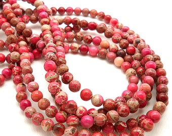 Impression Stone, Pink, Round, Smooth, Gemstone Beads, 6mm, Small, Full Strand, 65pcs - ID 762