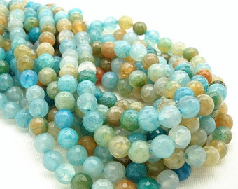 Agate, Fired, Aqua, Light Blue, Round, Faceted, 8mm, Small, Gemstone Beads, Full Strand, 48pcs - ID 558
