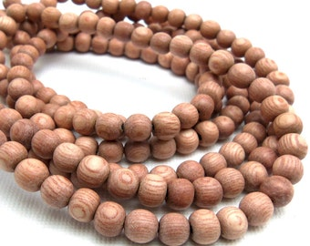 Rosewood, Round, 6mm, Small, Smooth, Natural Wood Beads, Full 16 Inch Strand, 68pcs - ID 1050