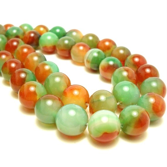 Agate, Red-Orange-Green, Round, Smooth, 14mm, Large, Gemstone Beads, Sold by Half-strand, 13-14pcs - ID 365