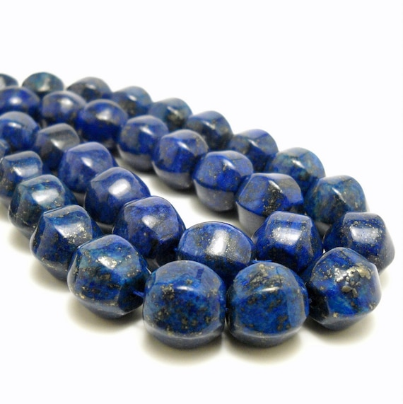 Lapis Lazuli, Blue, Pumpkin/Rounded Cushion, Gemstone Beads, 14mm, 10pcs - ID 382