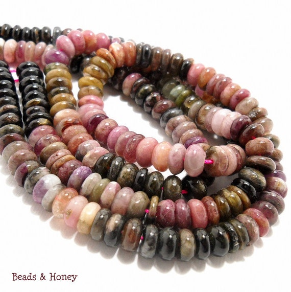 Tourmaline Gemstone Beads: Multi Colored, Rondelle, Smooth, Hand Cut, 8mm, Full Strand (110 pcs) - ID 591