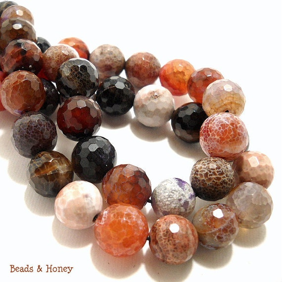 Agate, Fired, Brown/Black/Red-Orange/White, Round, Faceted, Gemstone Beads, 11-12mm, Large, Half-Strand, 14pcs - ID 378