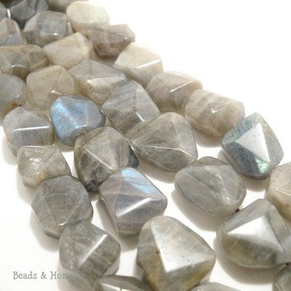 Labradorite with Blue Flash, Natural Gemstone Beads, Nugget, Flat, Freeform, 12x15mm, Full Strand - ID 627