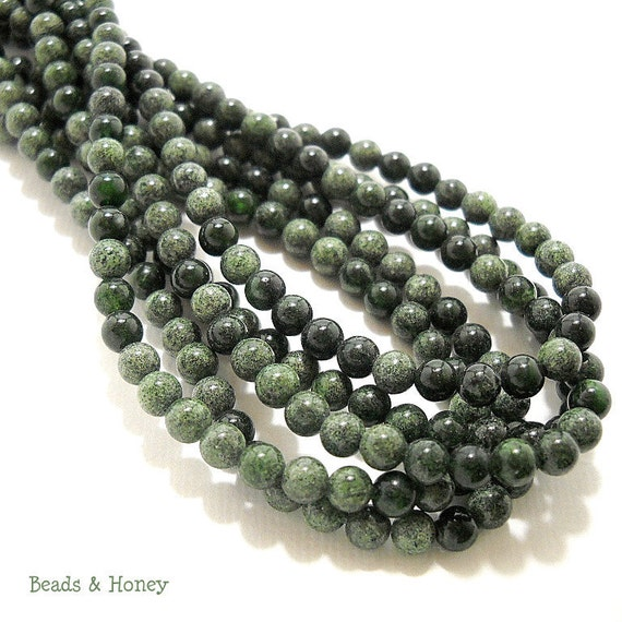Serpentine, Natural Gemstone Beads, Dark Green, Round, Smooth, 4mm ...
